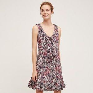 Anthropologie Maeve Paisley Ruffle Flounce Dress
